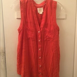 Anthropologie Maeve orange Button Down blouse